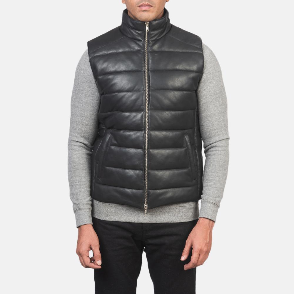 Men's Reeves Black Leather Puffer Vest 4