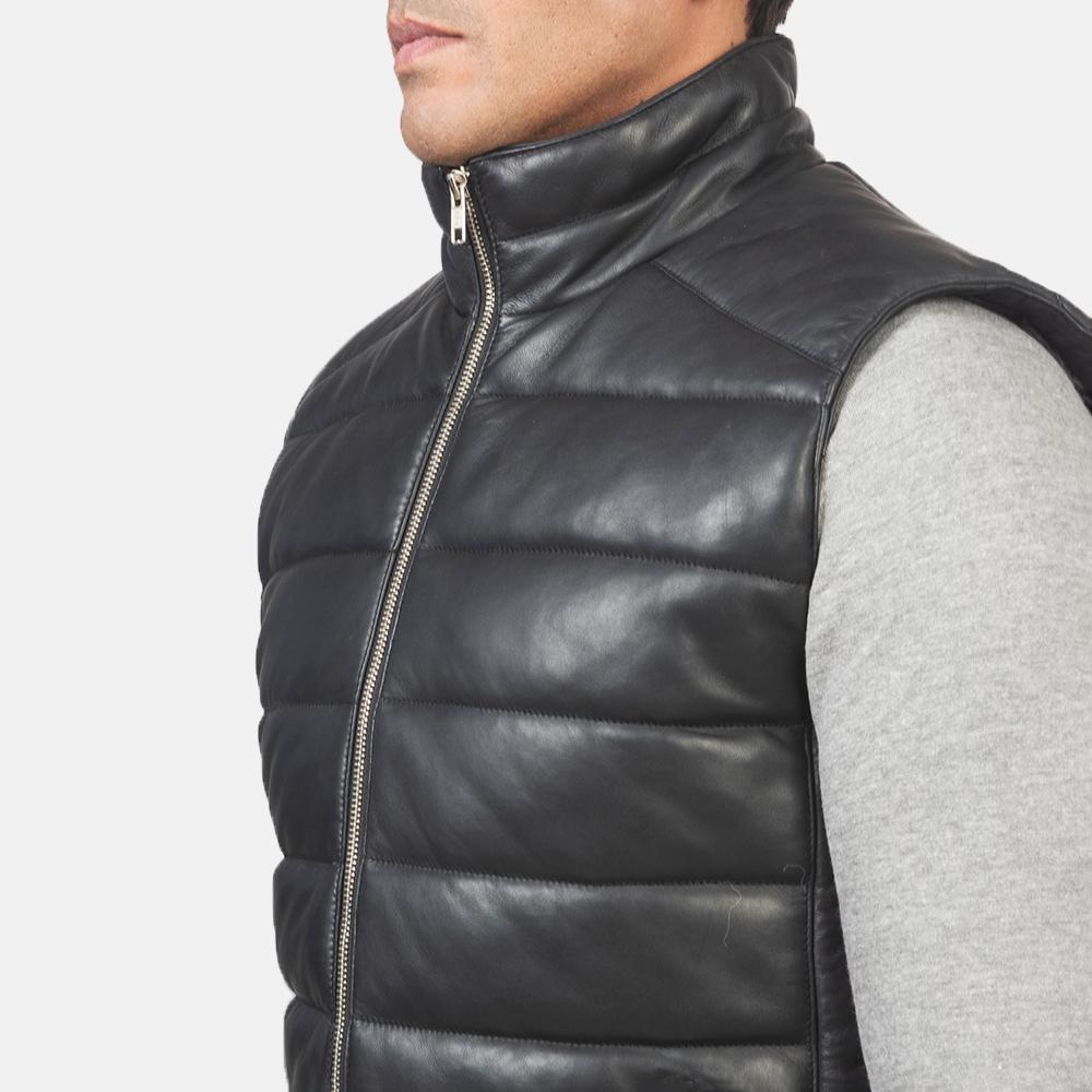 Men's Reeves Black Leather Puffer Vest 6