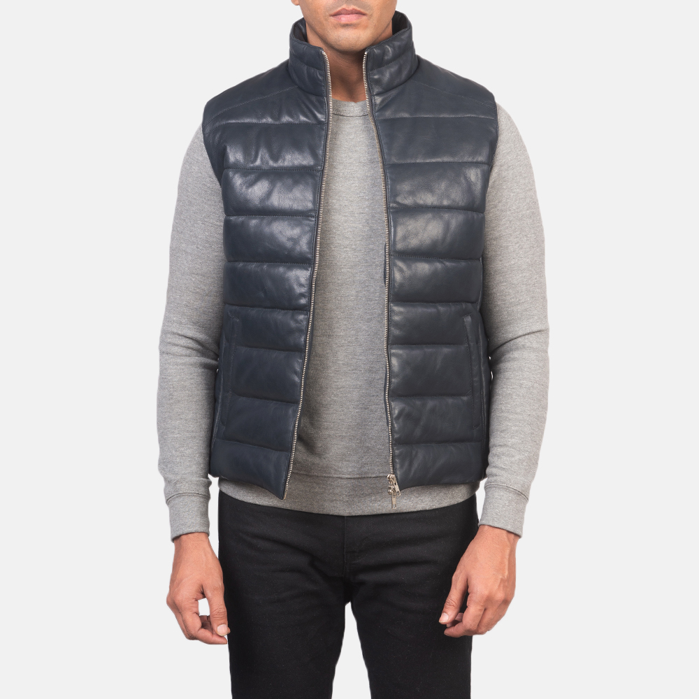 Men's Reeves Blue Leather Puffer Vest 3