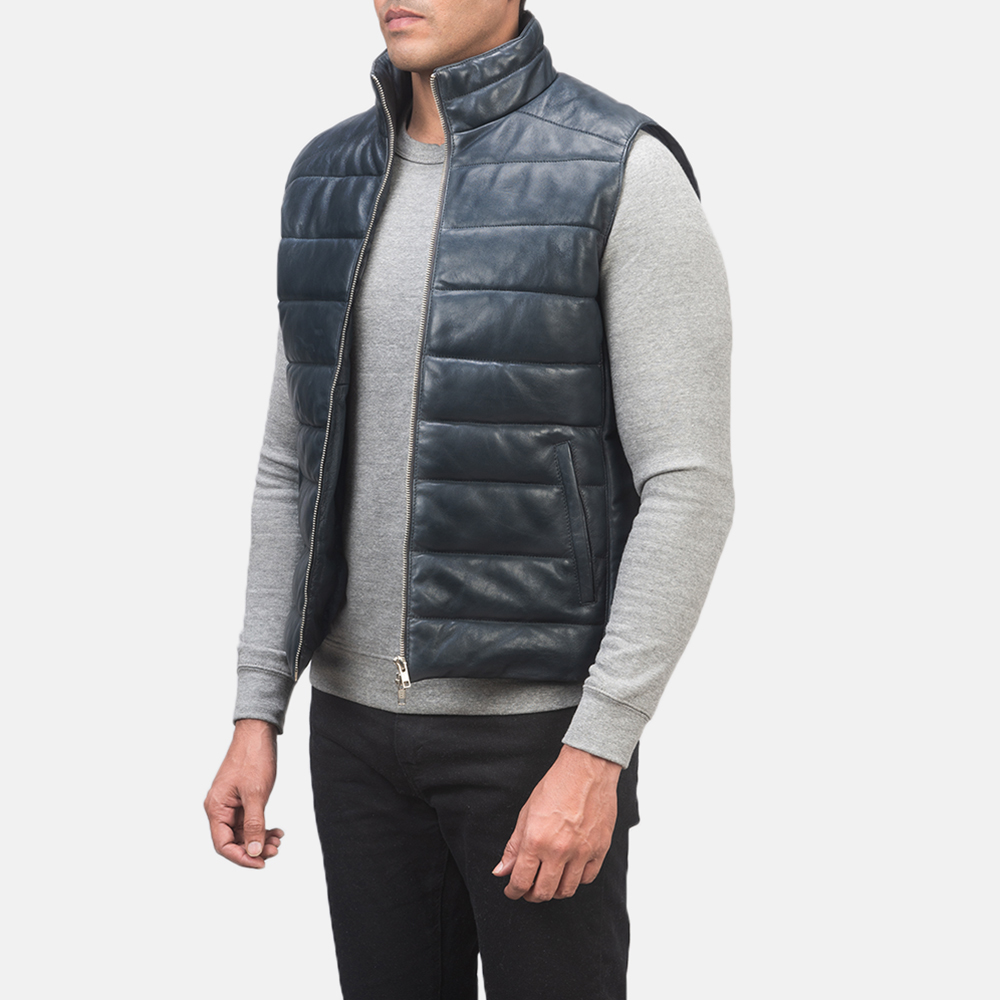 Men's Reeves Blue Leather Puffer Vest 2