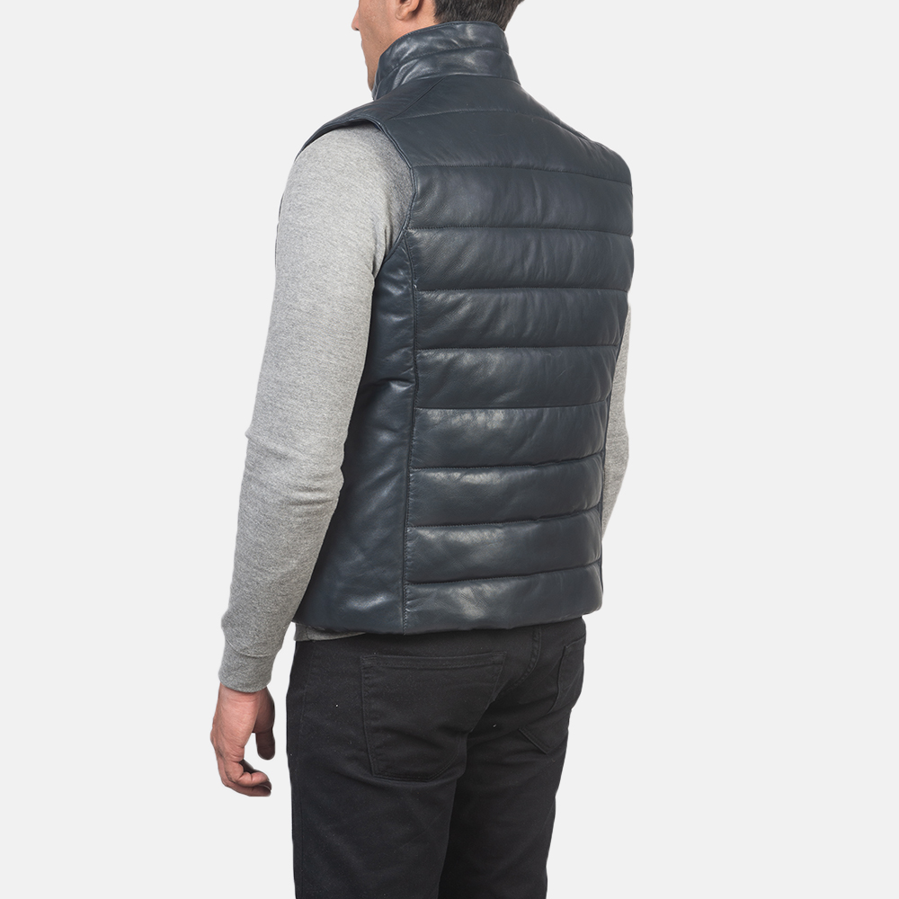 Men's Reeves Blue Leather Puffer Vest 5