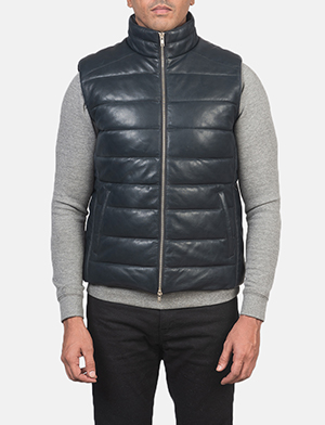 Men's Reeves Blue Leather Puffer Vest