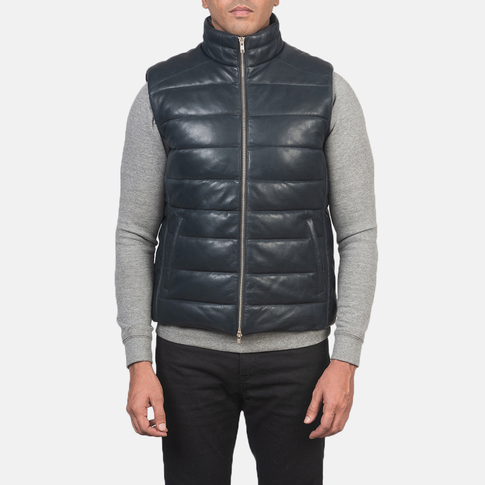 Men's Reeves Blue Leather Puffer Vest 4