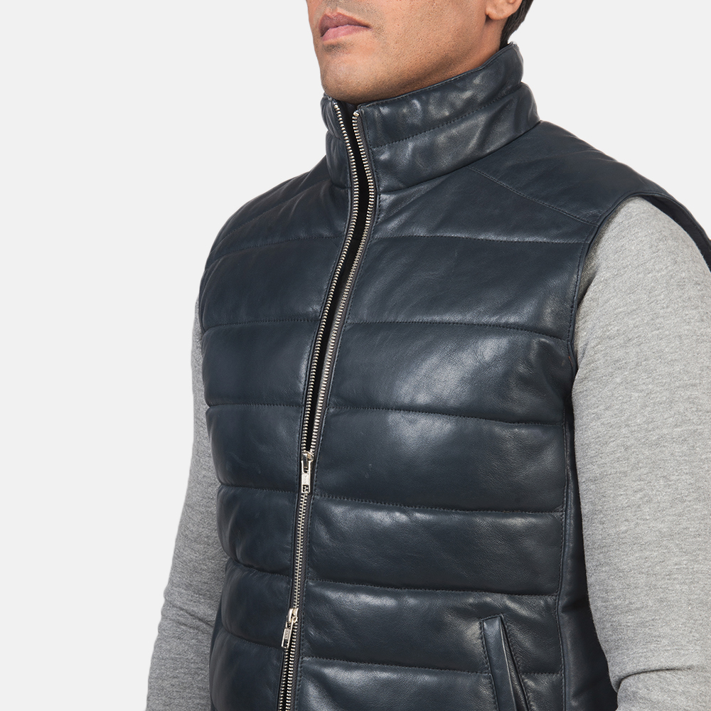 Men's Reeves Blue Leather Puffer Vest 6