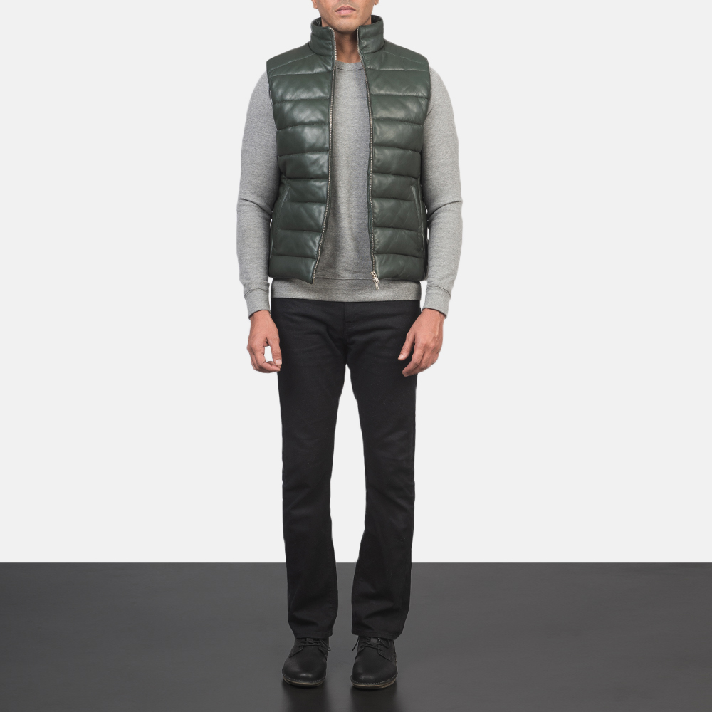Men's Reeves Green Leather Puffer Vest 1