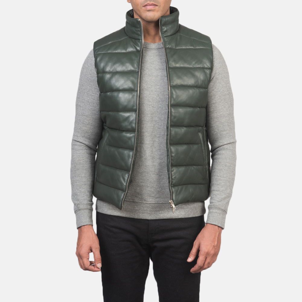 Men's Reeves Green Leather Puffer Vest 3