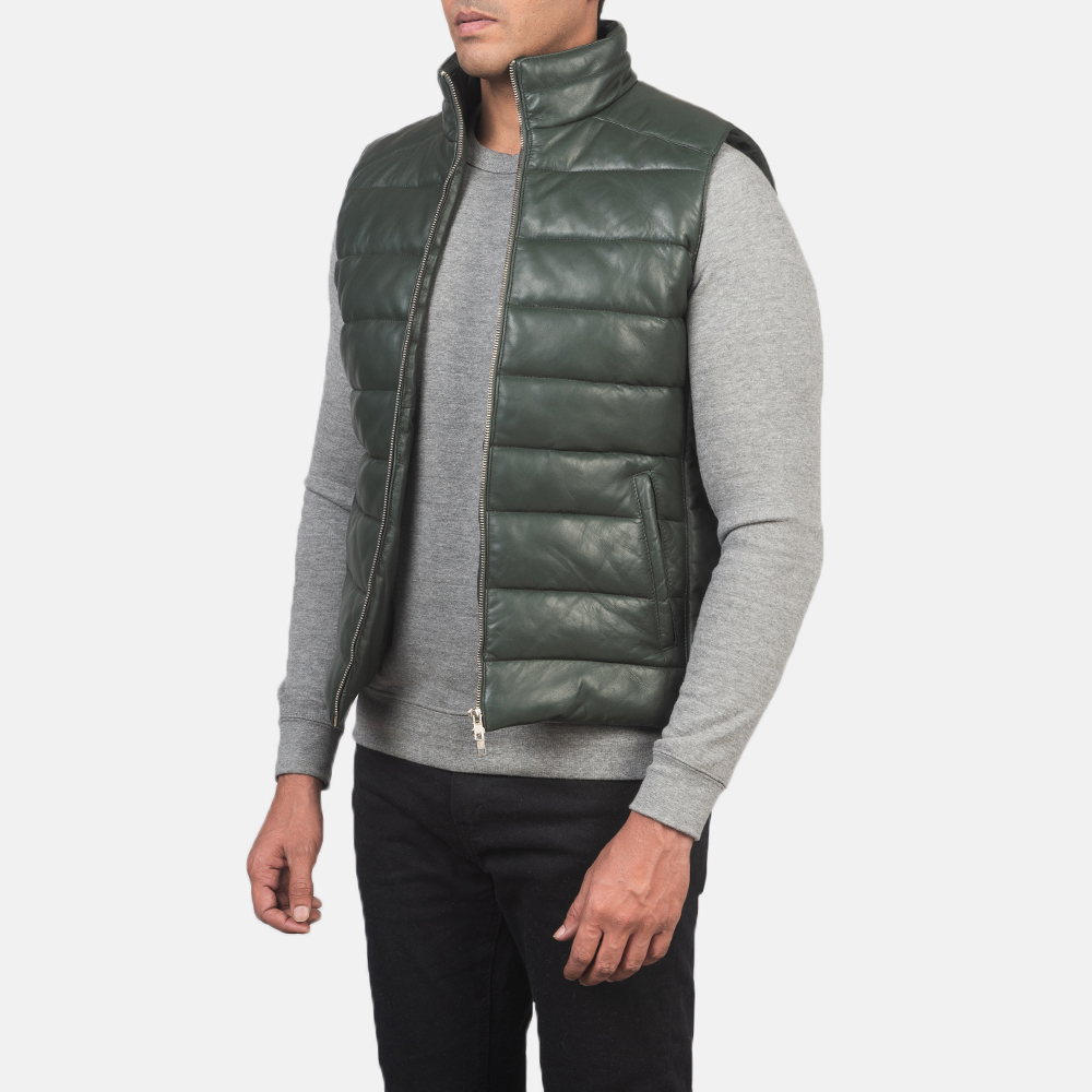 Men's Reeves Green Leather Puffer Vest 2