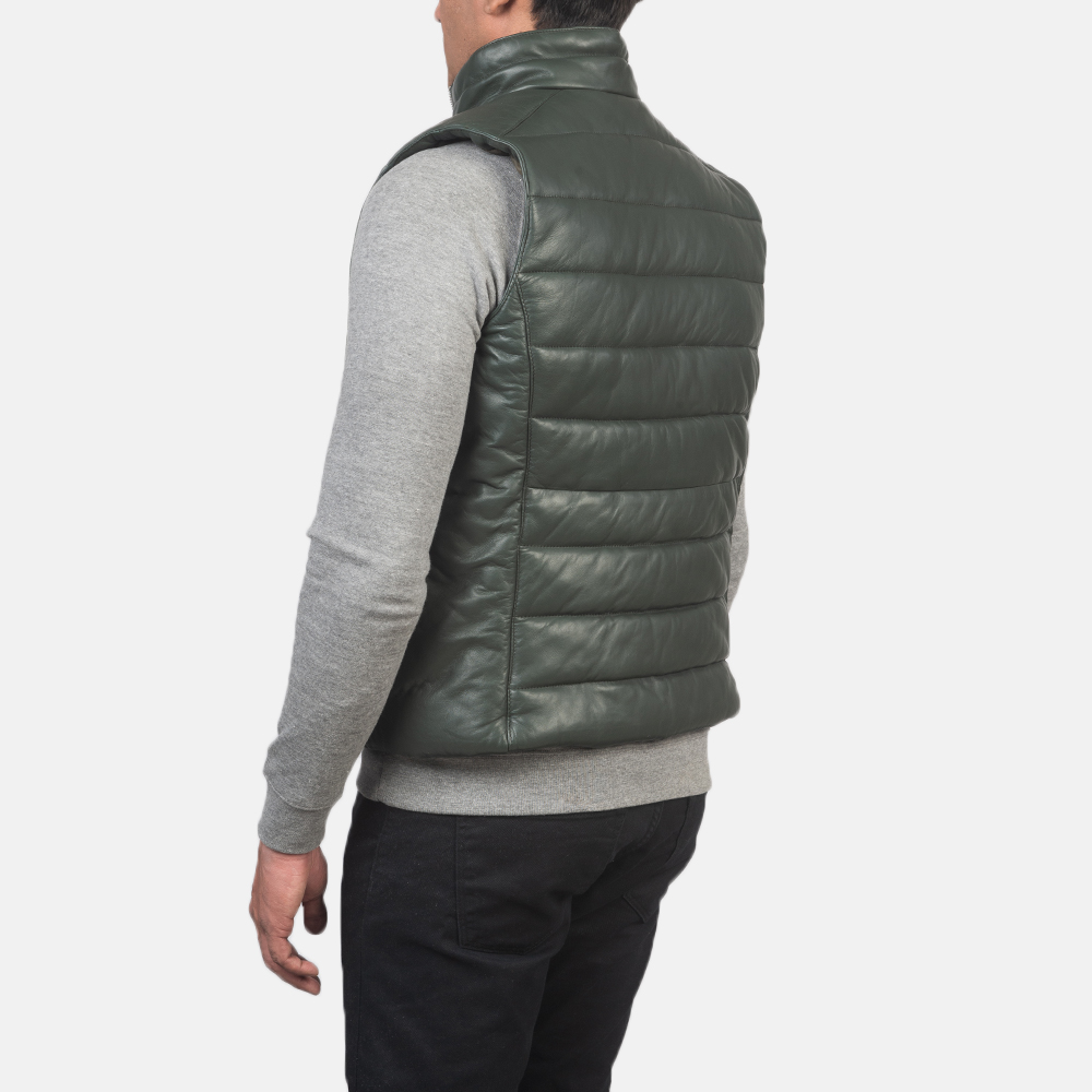 Men's Reeves Green Leather Puffer Vest 5