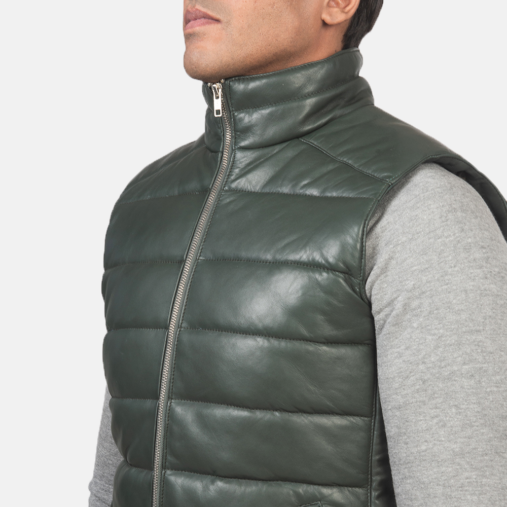 Men's Reeves Green Leather Puffer Vest 6