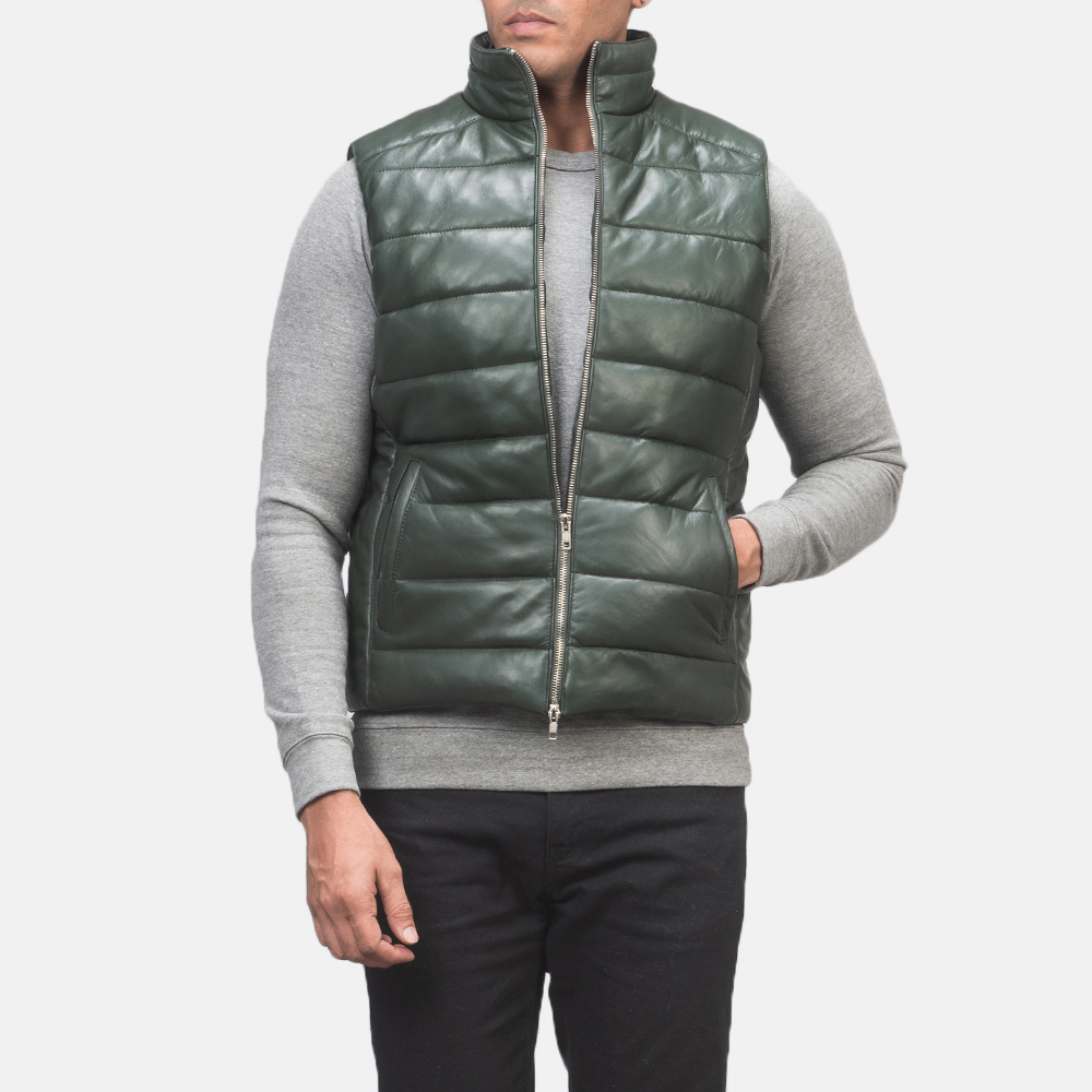 Men's Reeves Green Leather Puffer Vest 4