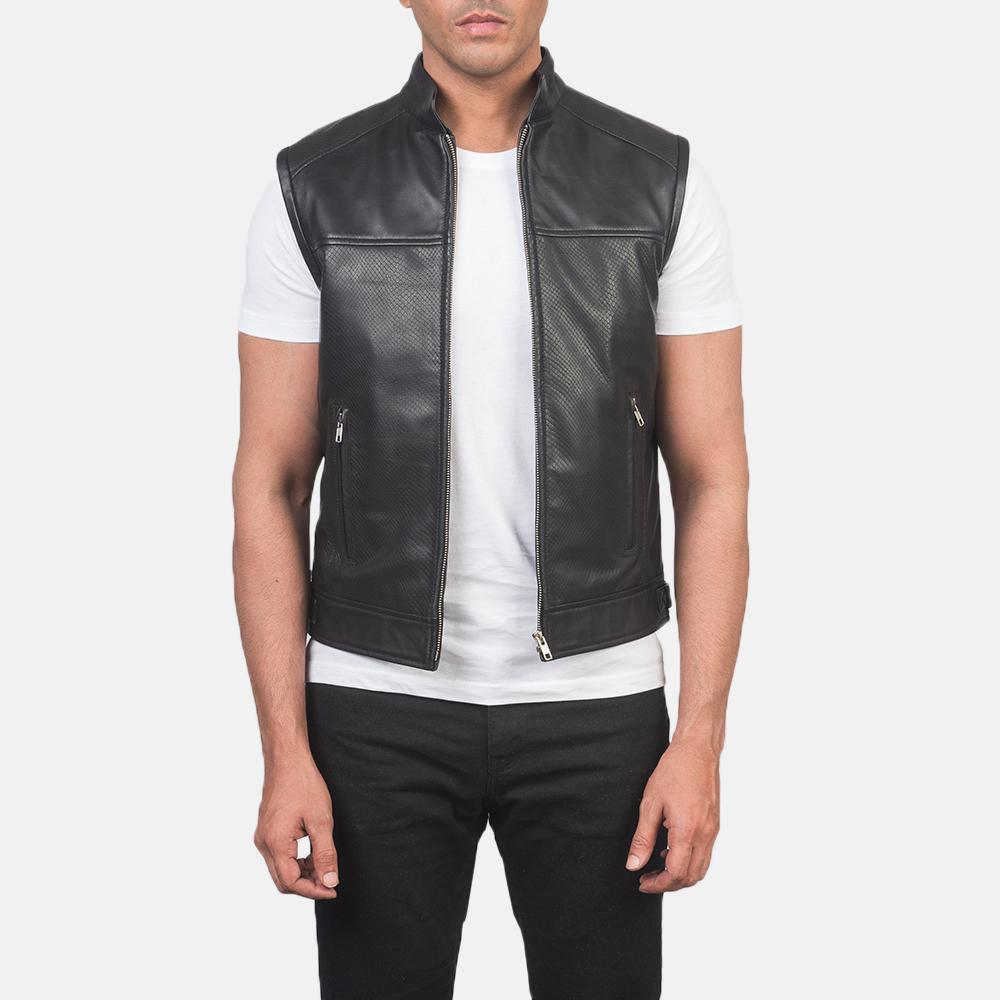 Men's Roland Black Leather Biker Vest 3