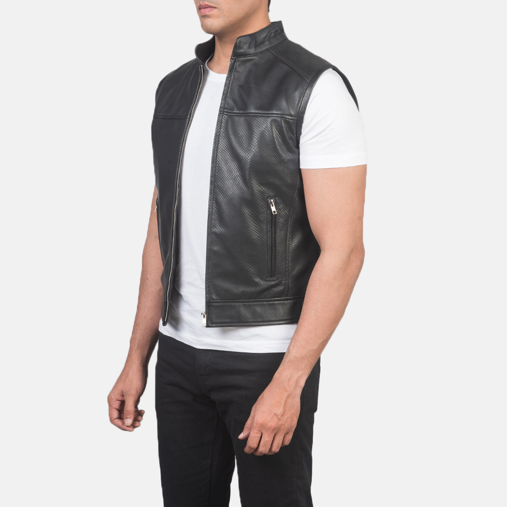 Men's Roland Black Leather Biker Vest 2