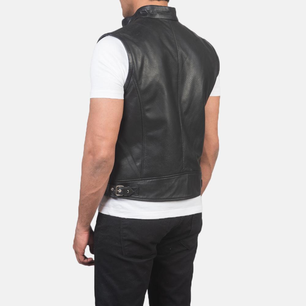 Men's Roland Black Leather Biker Vest 5