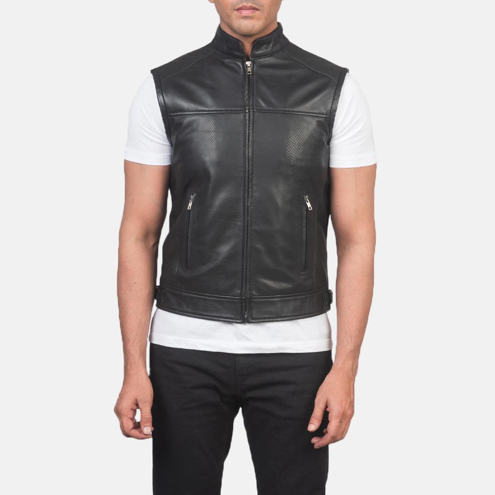 Men's Roland Black Leather Biker Vest 4