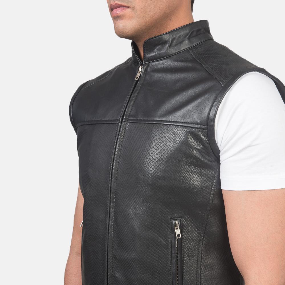Men's Roland Black Leather Biker Vest 6