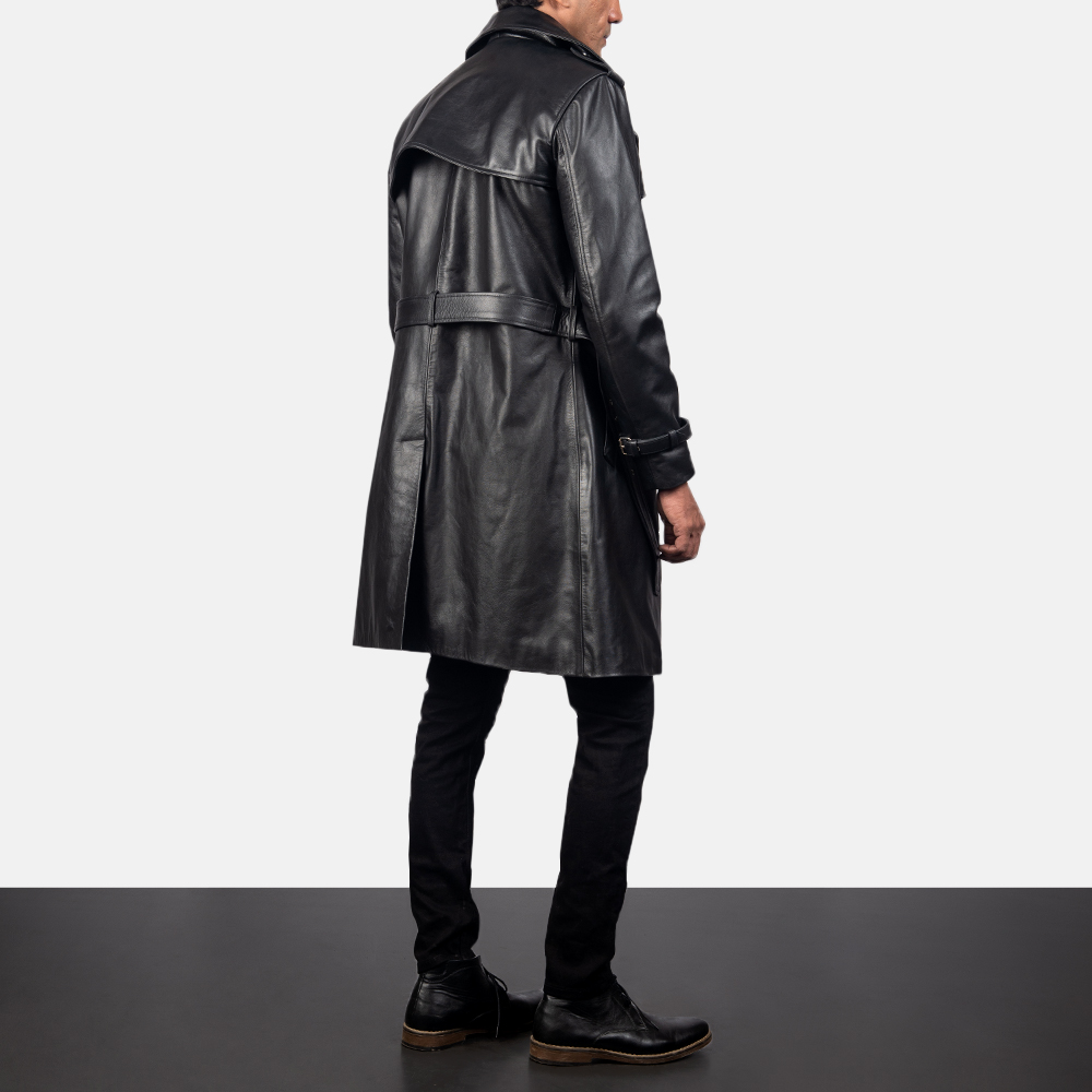 Men's Royson Black Leather Duster Coat
