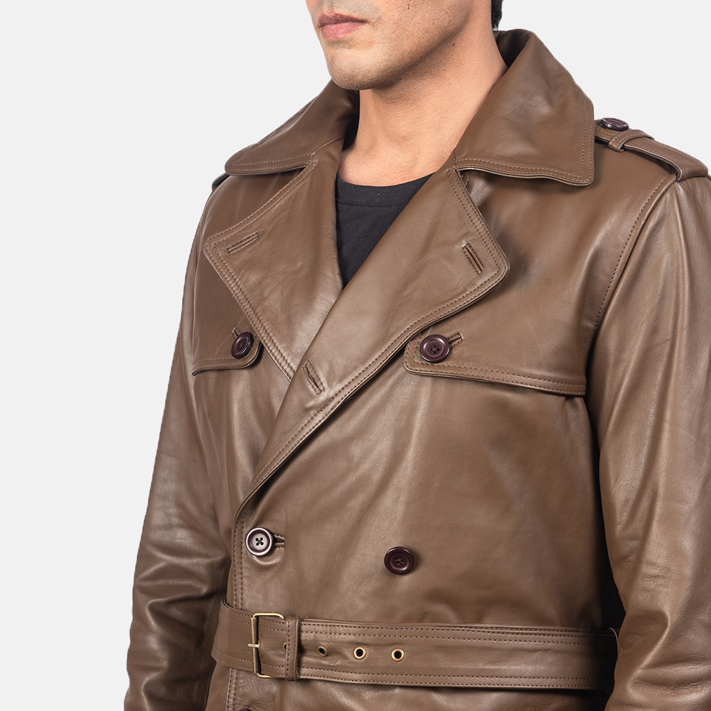 Men's Royson Brown Leather Duster Coat