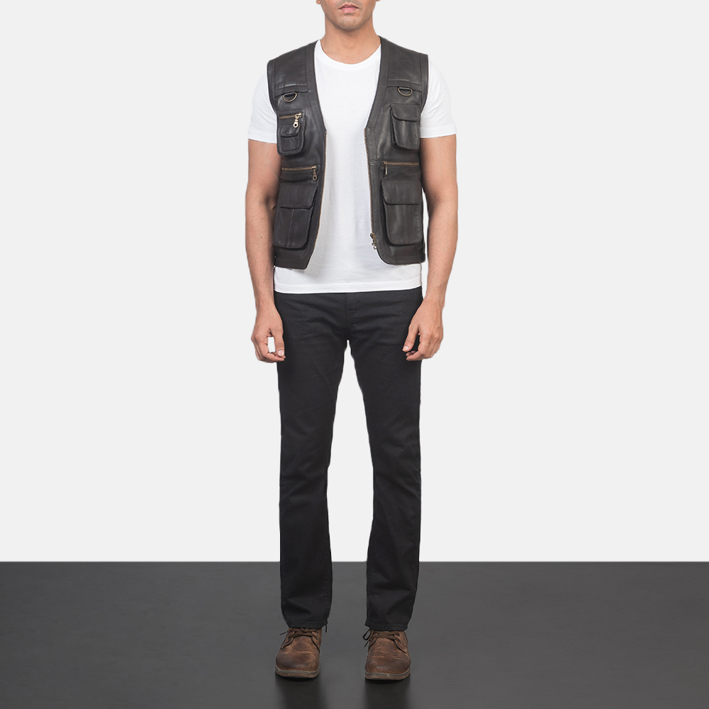 Men's Safari Brown Leather Vest 1