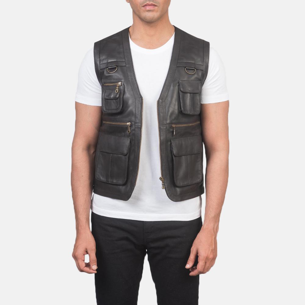 Men's Safari Brown Leather Vest 3