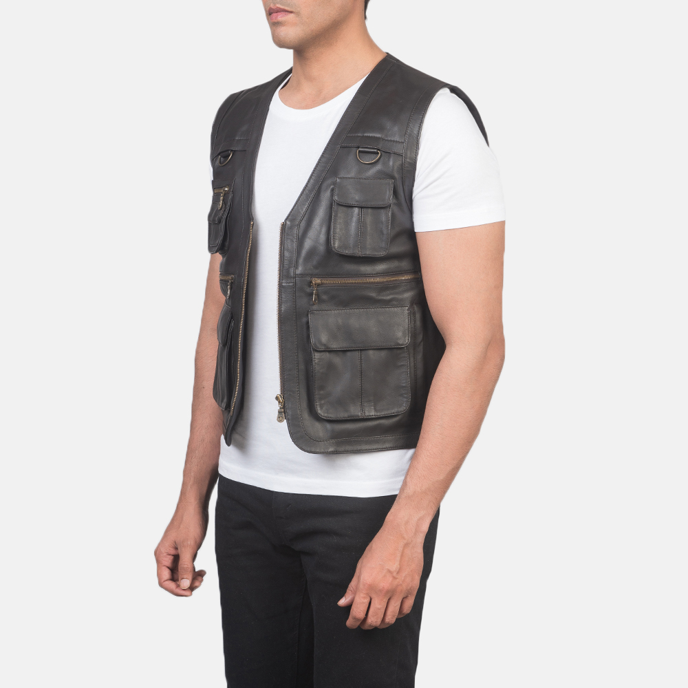 Men's Safari Brown Leather Vest 2