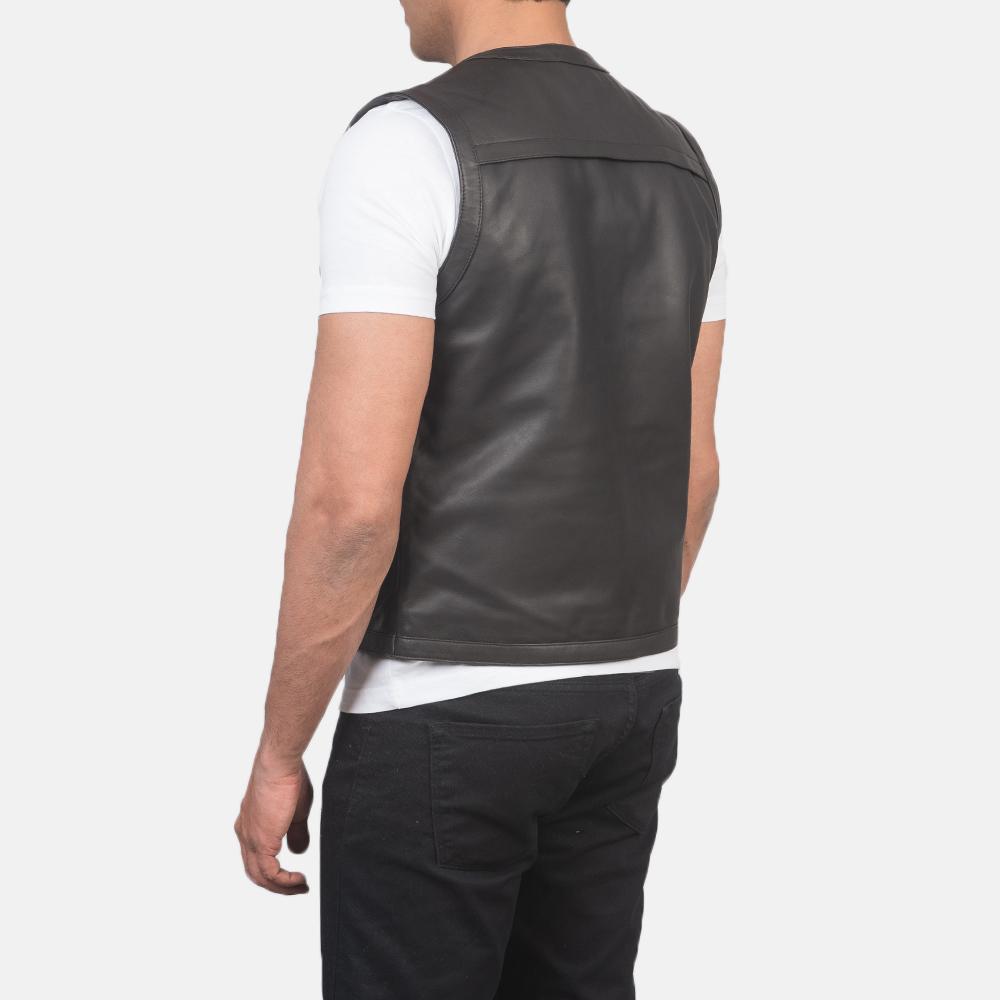 Men's Safari Brown Leather Vest 5
