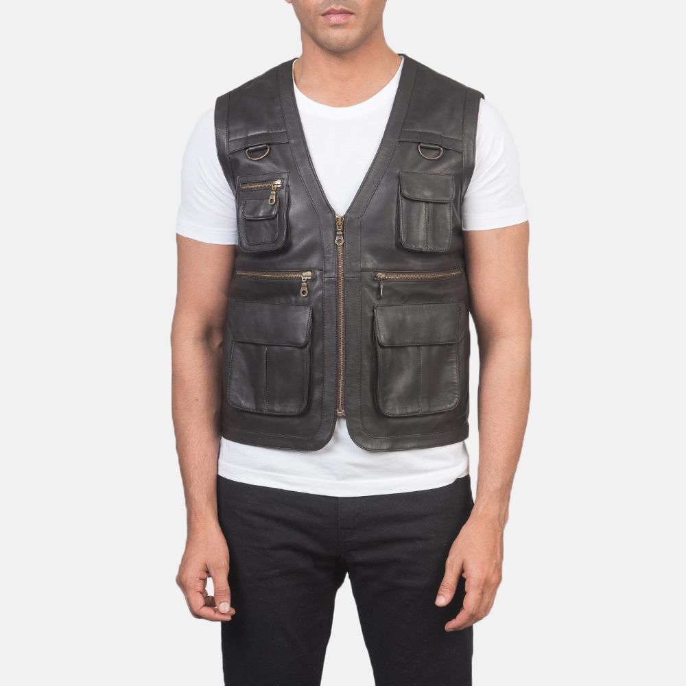 Men's Safari Brown Leather Vest 4