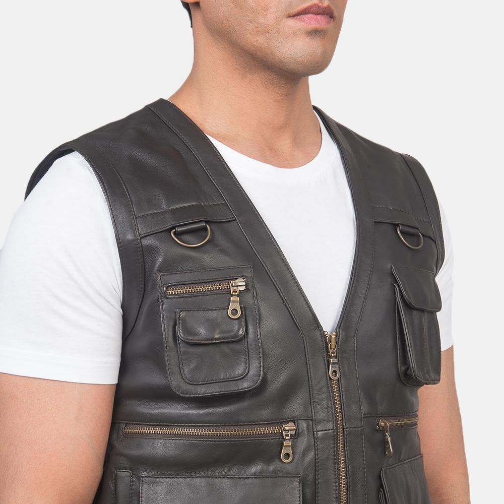Men's Safari Brown Leather Vest 6