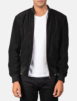 Men's Shane Black Suede Bomber Jacket