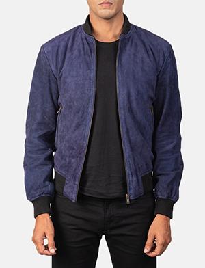 Men's Shane Navy Blue Suede Bomber Jacket
