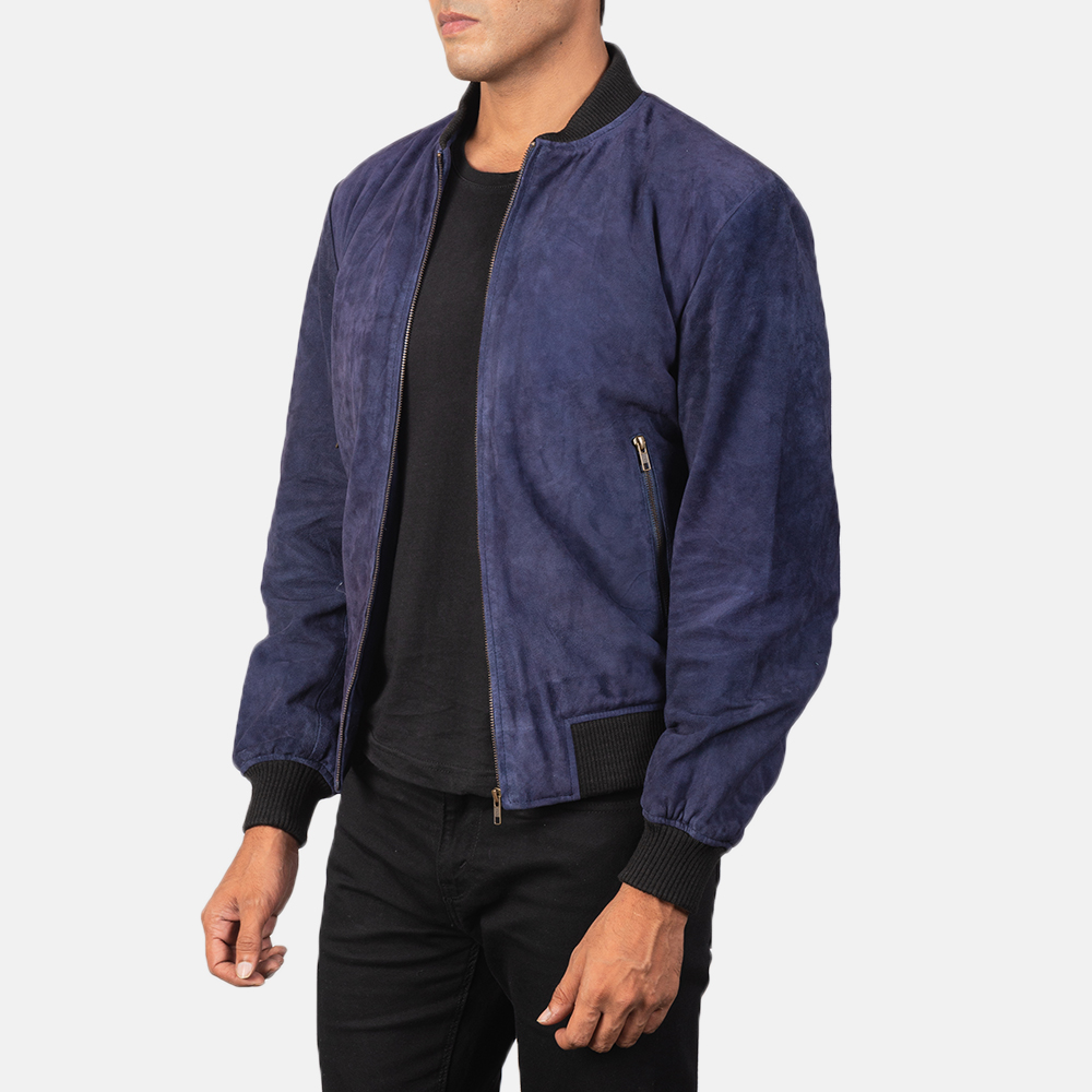 Men's Shane Blue Suede Bomber Jacket