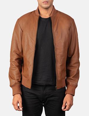 Men's Shane Brown Leather Bomber Jacket