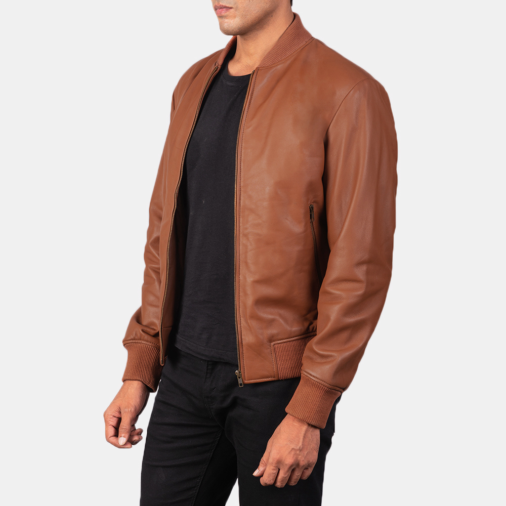 Men's Shane Brown Leather Bomber Jacket