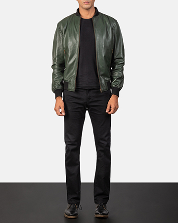 Men's Shane Green Leather Bomber Jacket