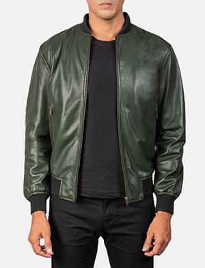 Men's Shane Army Green Leather Bomber Jacket