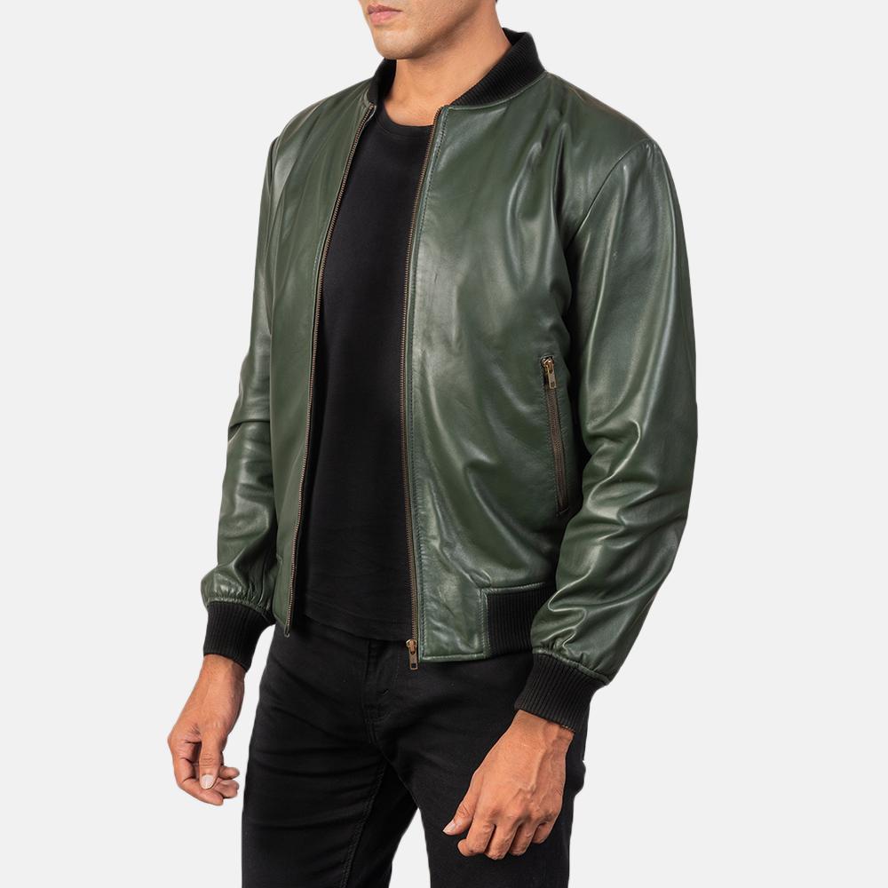 Men's Shane Green Leather Bomber Jacket