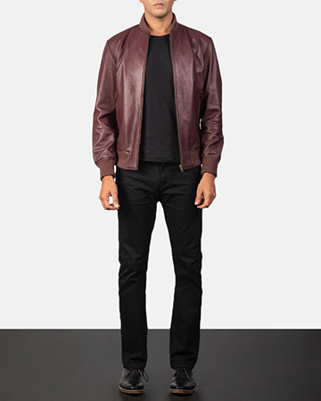 Men's Shane Maroon Leather Bomber Jacket 1