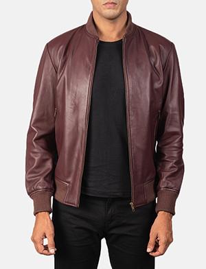 Men's Shane Maroon Leather Bomber Jacket