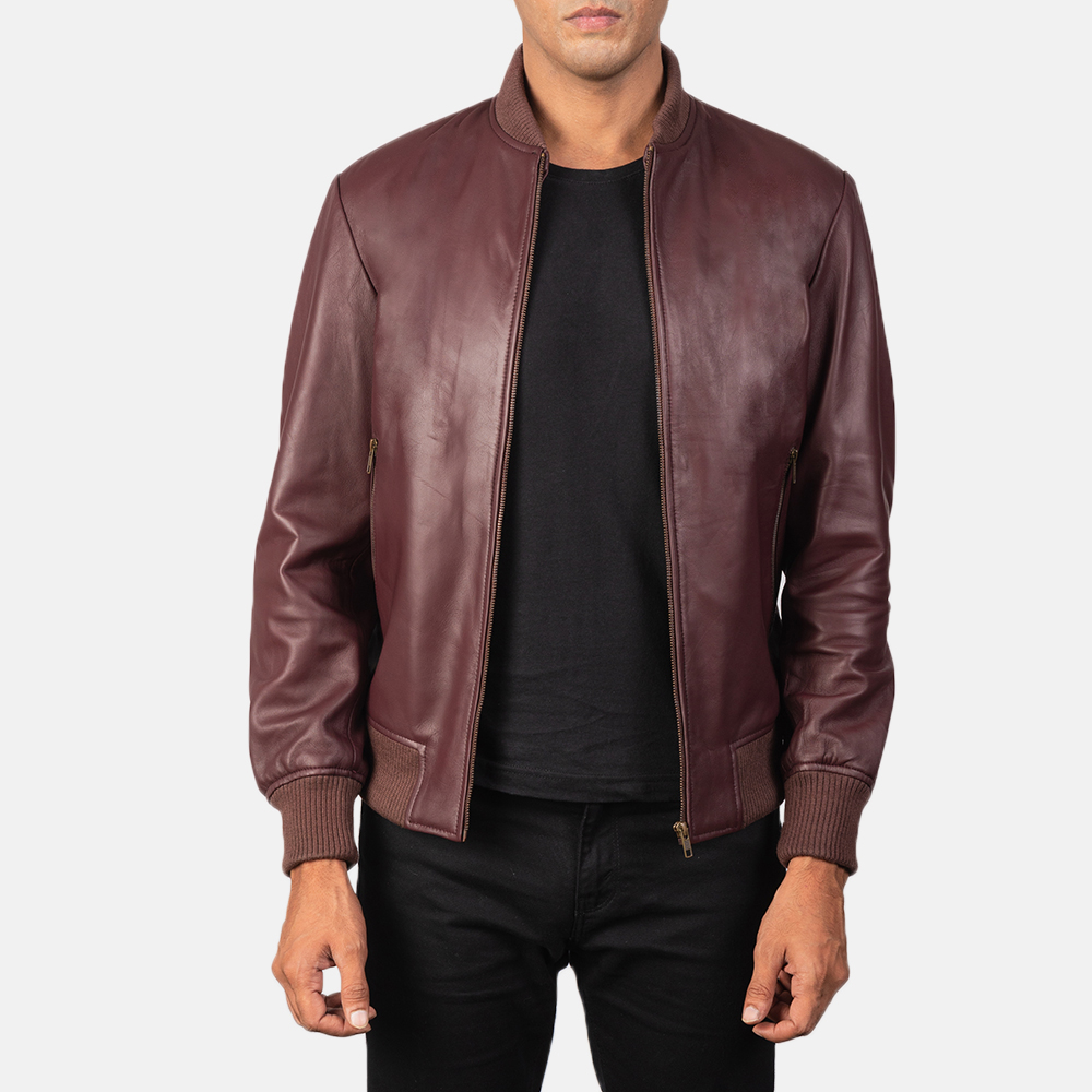 Men's Shane Maroon Leather Bomber Jacket