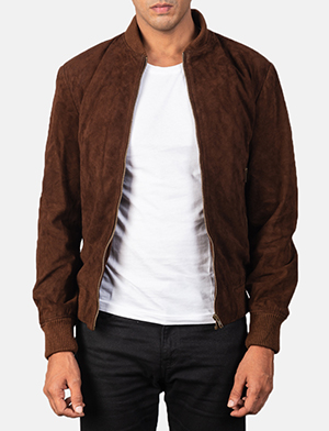 Men's Shane Dark Mocha Brown Suede Bomber Jacket