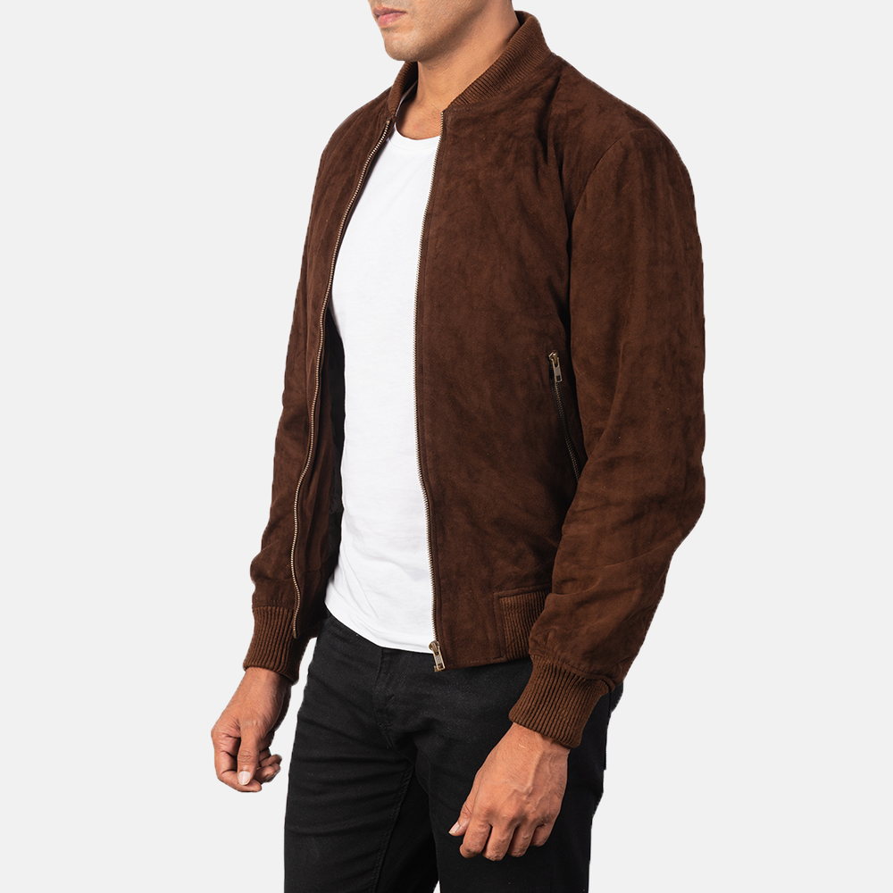 Men's Shane Mocha Brown Suede Bomber Jacket
