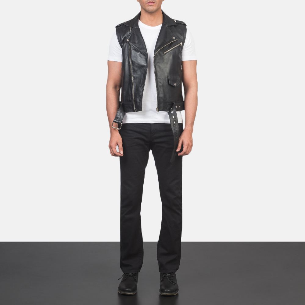 Men's Sullivan Black Leather Biker Vest 1