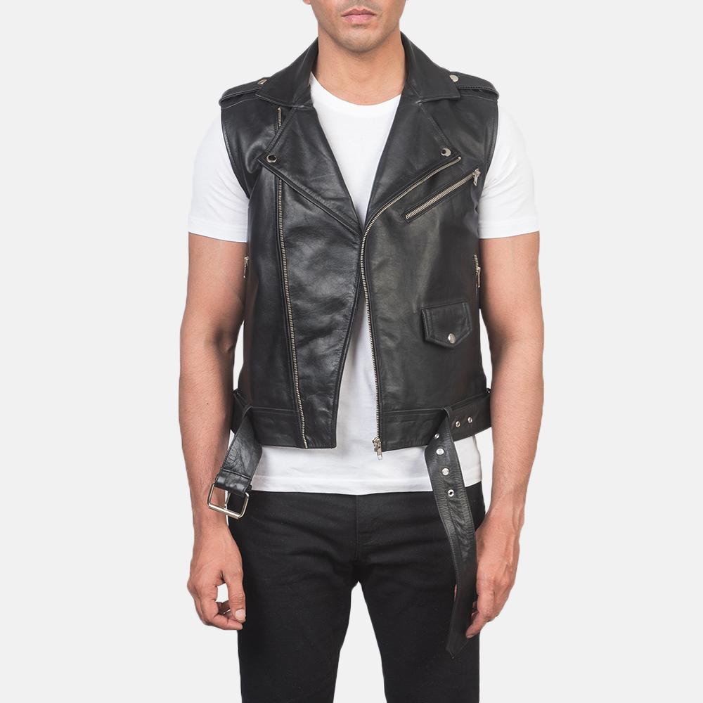 Men's Sullivan Black Leather Biker Vest 3