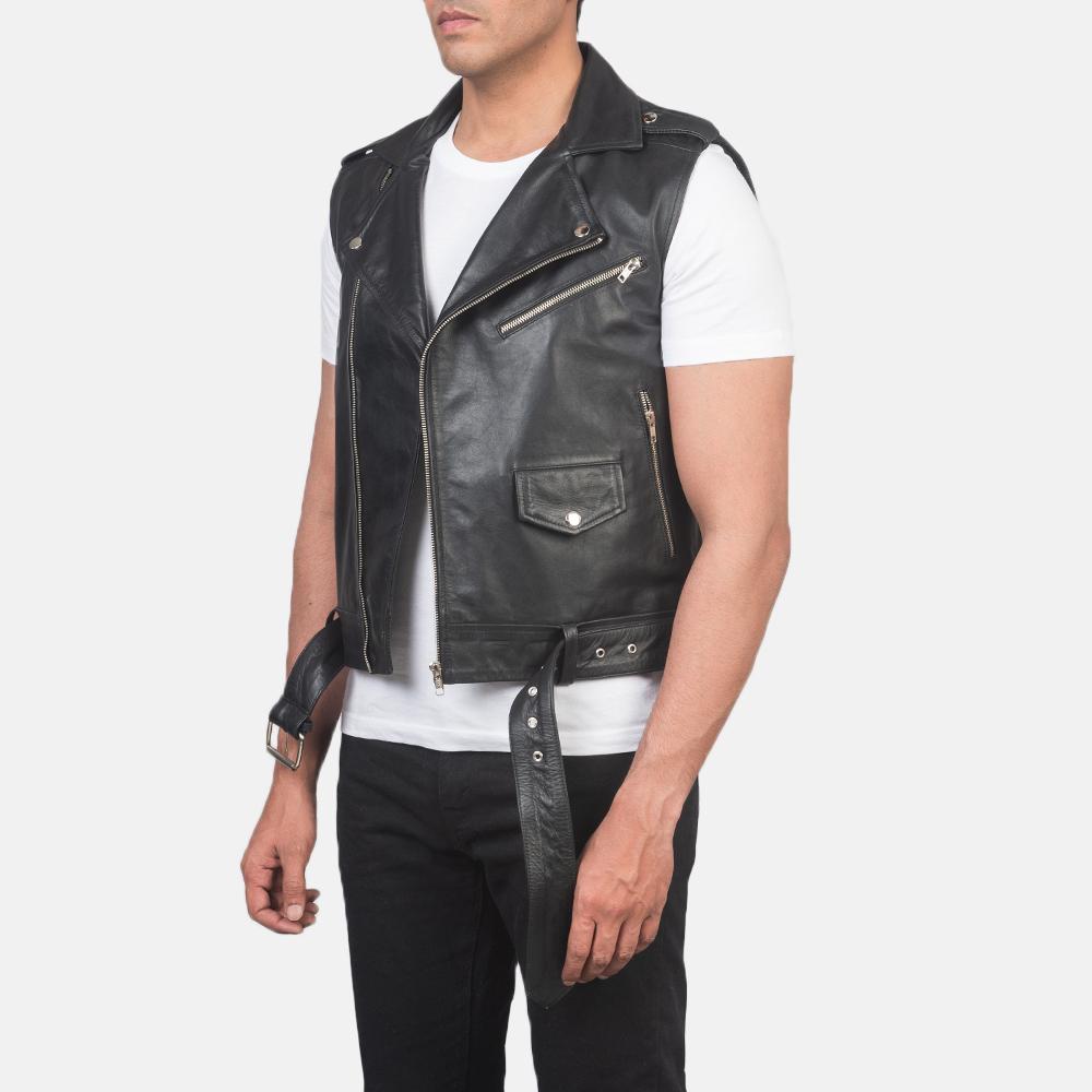 Men's Sullivan Black Leather Biker Vest 2