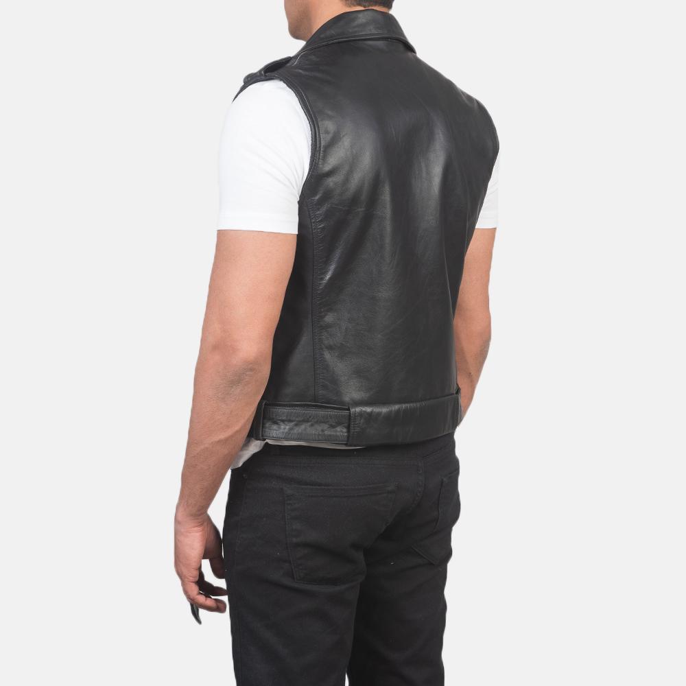 Men's Sullivan Black Leather Biker Vest 5