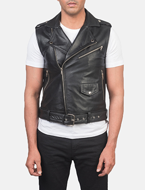 Men's Sullivan Black Leather Biker Vest