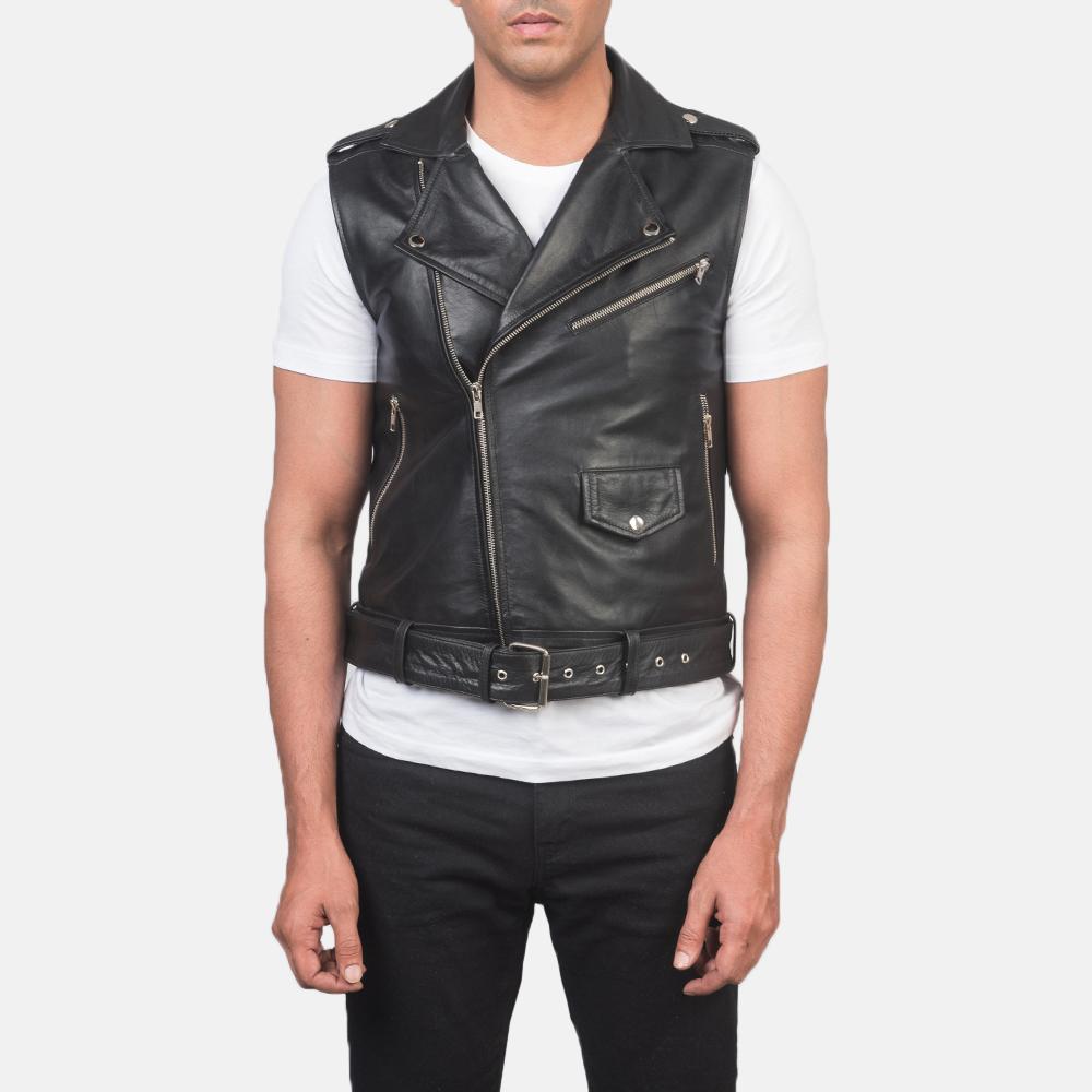 Men's Sullivan Black Leather Biker Vest 4