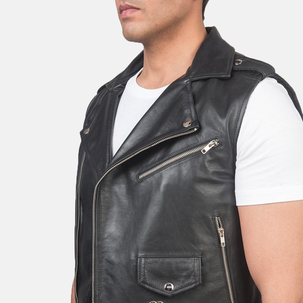 Men's Sullivan Black Leather Biker Vest 6
