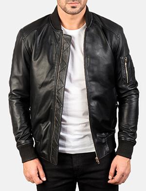 Men's Bomia Ma-1 Black Leather Bomber Jacket