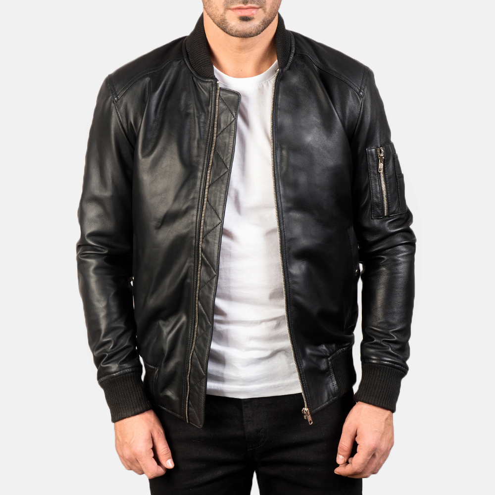 Men's Bomia Ma-1 Black Leather Bomber Jacket 3