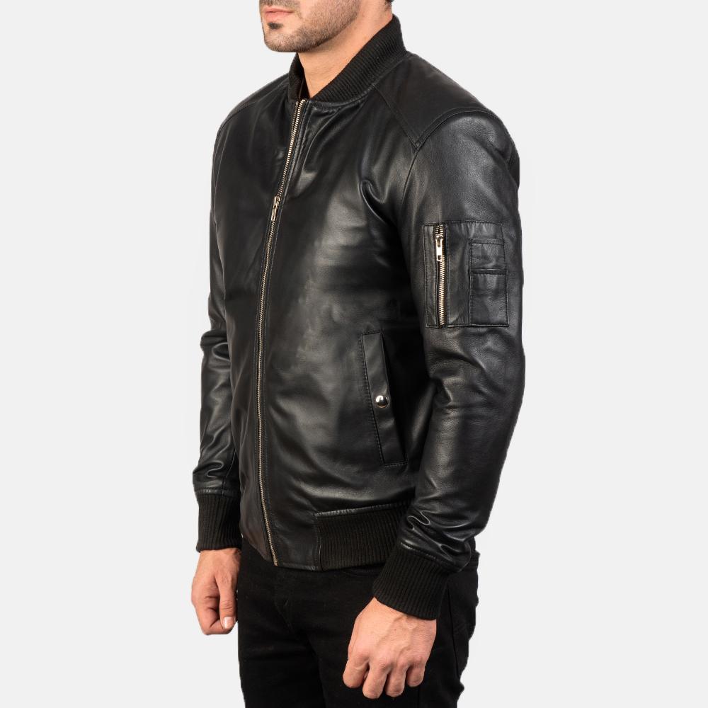Men's Bomia Ma-1 Black Leather Bomber Jacket 2
